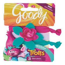 goody hair goody trolls hugtime ribbon hair elastics 3 count assorted