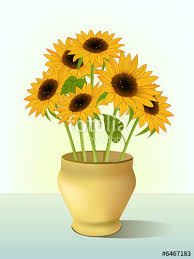 Vase Of Sunflowers Clip Art Of Bright Yellow Sunflowers In Vase