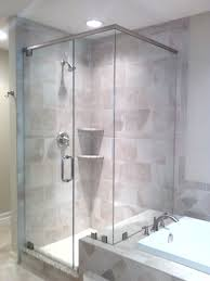 bathroom frameless shower doors with silver handle matched with