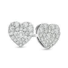 heart shaped earrings 1 2 ct t w diamond heart shaped cluster stud earrings in 10k
