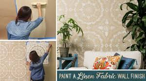 how to stencil u0026 paint a textured linen fabric wall finish with