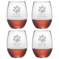 dog wisdom stemless wine glasses set of 4 wisdom an and awesome