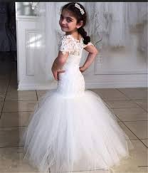 wedding dresses 2010 lovely mermaid kids evening font b gowns b font with sleeves white lace tulle flower jpg