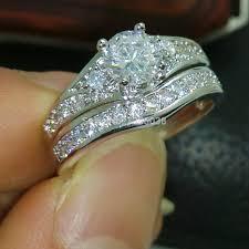 silver engagement ring gold wedding band rings engaging diamonique wedding sets for morgiabridal