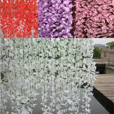 compare prices on cherry blossom wedding decor online shopping 5 branchs pcs wisteria rattan artificial silk cherry blossom wall hanging flower vine for garden