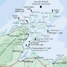 Lake Superior Map Lighthouses Of The Apostle Islands Lake Superior Magazine