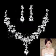 wedding earrings drop 2017 hot women fashion bridal rhinestone drop necklace