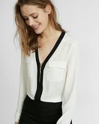 Black Blouse With White Collar Blouses Shop Women U0027s Blouses