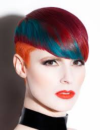 short orange red and teal hair by daniel rubin hair colors