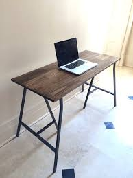 Trestle Computer Desk Hand Finished Wood Desk On Metal Ikea Legs Desk With Dark Walnut