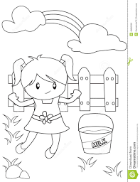 cute little playing in the backyard coloring page stock
