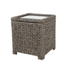 Wicker Accent Table Hton Bay Laguna Point Square Wicker Outdoor Accent Table With