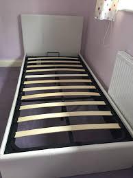 Single Ottoman Storage Bed by White Faux Leather Single Ottoman Storage Bed In Rochdale