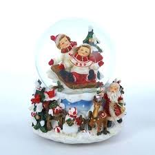 snow globe l post musical snow globes set of 4 traditions children sledding wind up