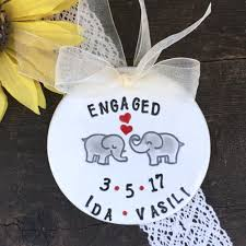 elephants in personalized engagement ornament by say your