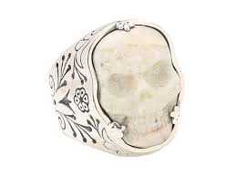 ivory ring lyst king baby studio carved ivory skull in silver frame ring in