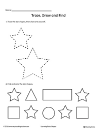 trace draw and find star shape shapes worksheets printable