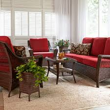 Sears Patio Furniture Replacement Cushions by La Z Boy Outdoor Scarlett 4 Piece Seating Set In Red Sears