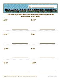 drawing and identifying angles 4th grade geometry worksheets