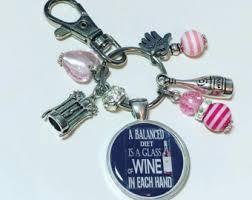 Wine Glass Keychain Wine Keychains Etsy