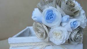 Wedding Flowers Blue Wedding Bouquet Diy Blue Rustic Style Paper Flowers Youtube