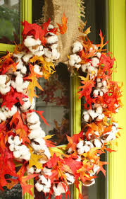 cotton fall wreath and décor for the entryway pretty handy