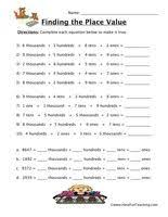 free math place value worksheets to 10000 math teaching