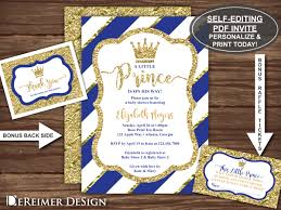 little prince baby shower invitation in royal blue and gold