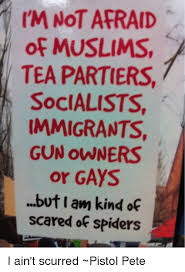 Afraid Of Spiders Meme - i m not afraid of muslims tea partiers socialists immigrants gun
