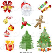 clip art of a set of xmas icons of bells ornaments santa candy