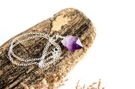 necklace on sterling silver natural raw amethyst pendant