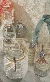 Shabby Chic Table by Vintage Shabby Chic Table Decor Set Of 5 Vintage Glass Jars