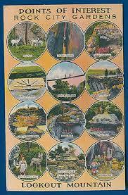 Rock City Gardens Chattanooga Vintage Linen Postcard Entrance To Rock City Lookout Mountain