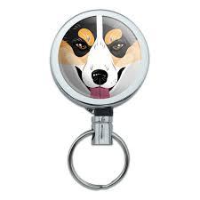 australian shepherd keychain metal retractable reel id badge key card holder with belt clip dog