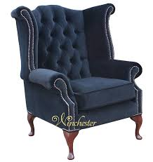 chesterfield fabric queen anne high back wing chair black velvet