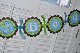 Baby Blue And Brown Baby Shower Decorations Dinosaur Baby Shower Banner It U0027s A Boy Brown Green