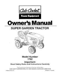 cub cadet lawn mower 1782 user guide manualsonline com