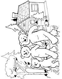 goldilocks coloring bears leaving cottage