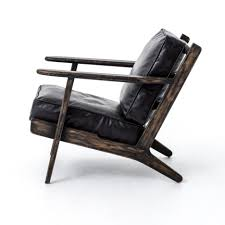 Black Leather Armchair Black Leather Chair With Back Also Brown Wooden Arm Rest And Legs