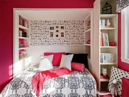 bedroom small pink bedroom wirth classic pattern fabric and pink small pink bedroom wirth classic pattern fabric and pink and black pillow and also recessed cabinet in the wall and free standing cabinet on the other side