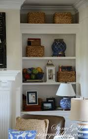bookshelves in the family room stonegable