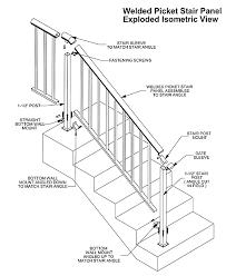 stairs stair rail code picket aluminum hand rail isometric view