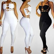 bodycon jumpsuit 2018 strappy bandage bodycon jumpsuit solid black white