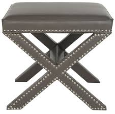 Gray Leather Ottoman Mcr4698a Ottomans Furniture By Safavieh