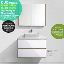 900mm Bathroom Vanity by Duo 900mm White Oak Timber Wood Grain U0026 White Gloss Polyurethane