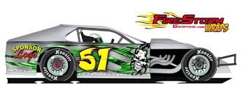 race car numbers race car decals dirt modified wrap green