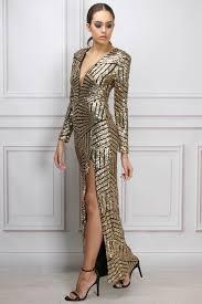 gold long sleeve sequin maxi dress rare london ball gowns