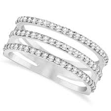 pave set rings images Three band diamond ring pave set 14k white gold 0 60ct in391 jpg