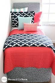 Designer Girls Bedding Coral Quilt Navy Canal Blue Bedding Set