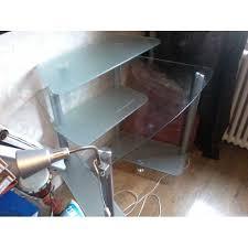 bureau informatique verre trempé bureau angle verre fly petit meuble pour ordinateur lepolyglotte